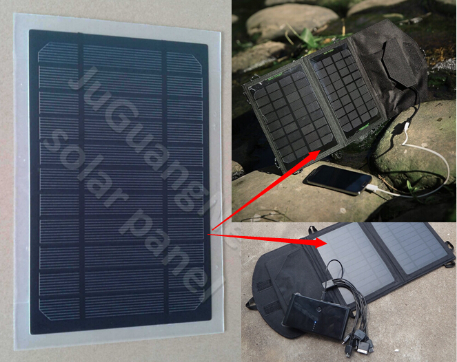 PET solar panels for foldable solar mobile phone chargers.
